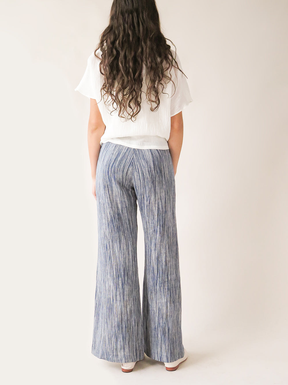 darby pant in indigo sketch stripe