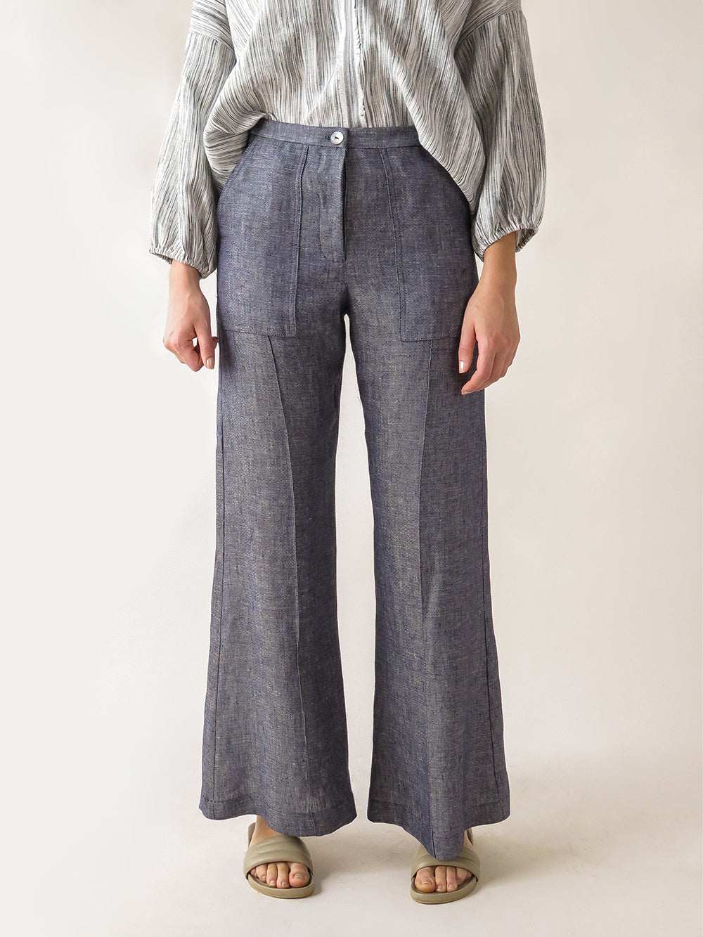 darby pant in indigo twill