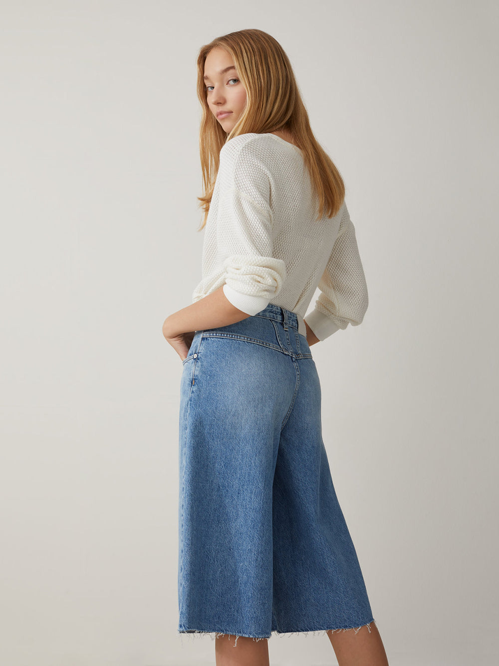closed dree culottes in mid blue