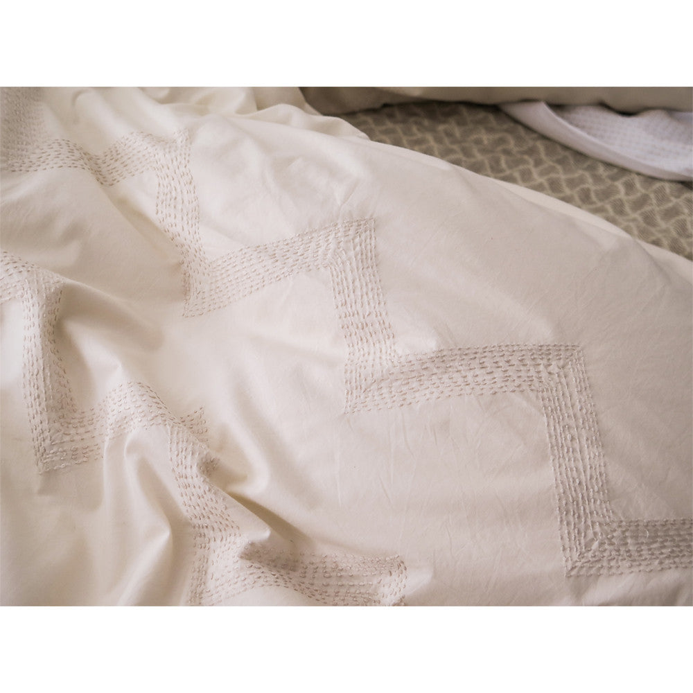 embroidered zigzag duvet cover