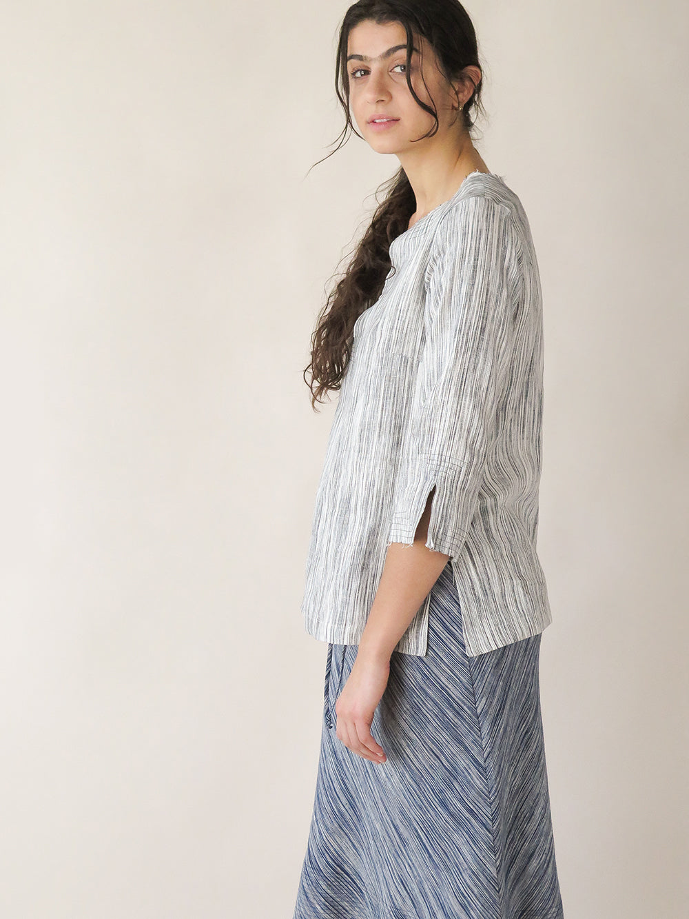 edo top in pebble sketch stripe