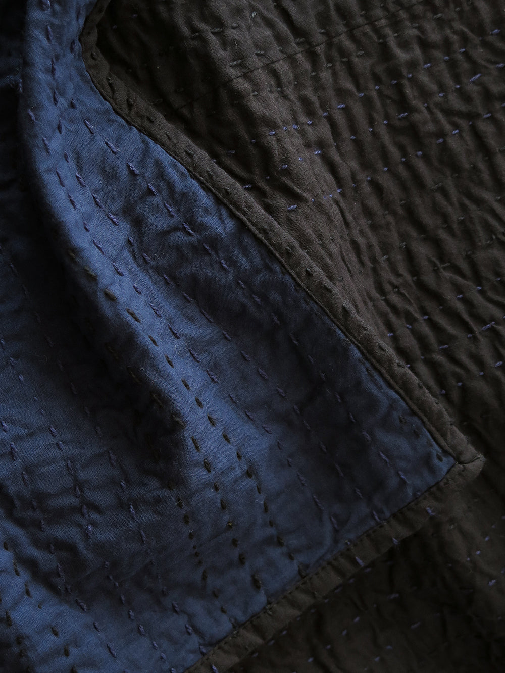 signature kantha quilt in navy + black