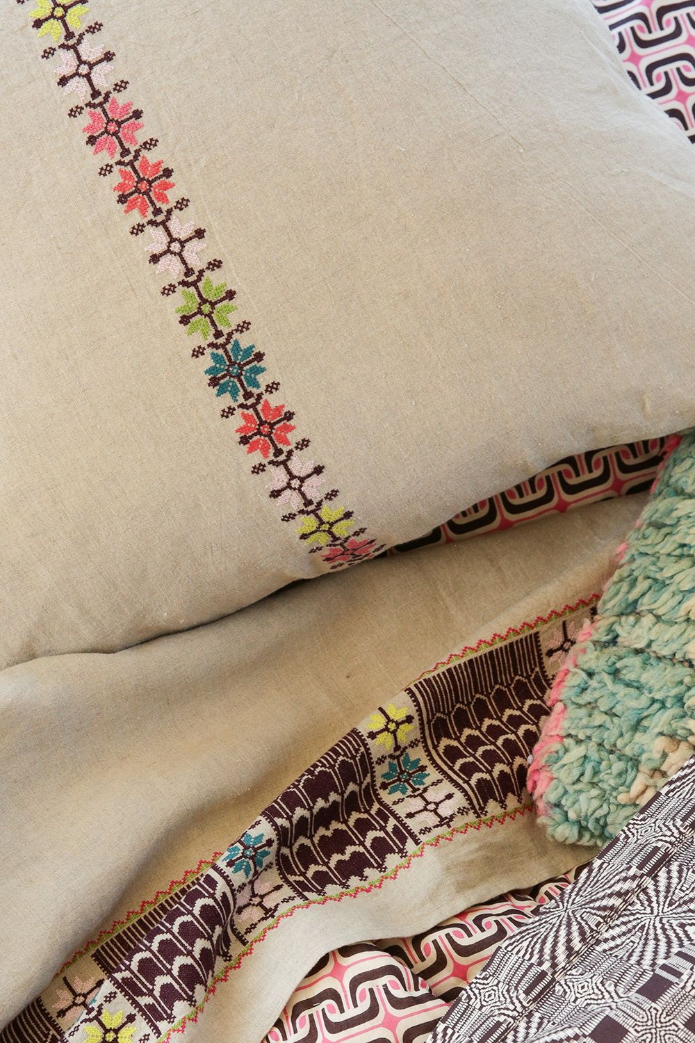 euro sham in embroidered natural linen