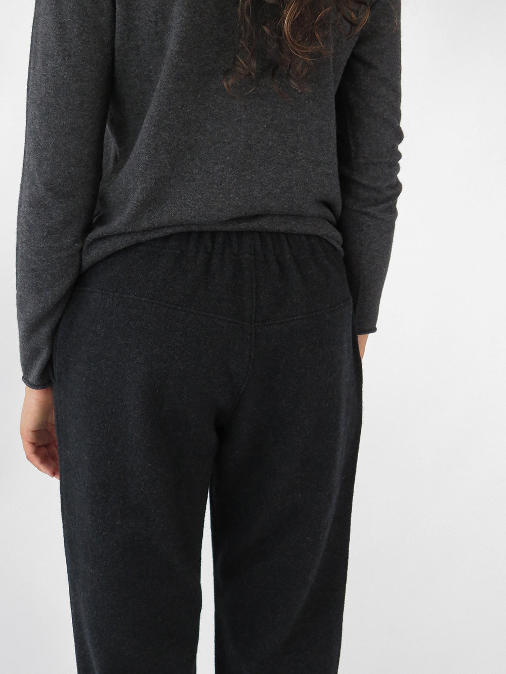 evam eva press pant in charcoal