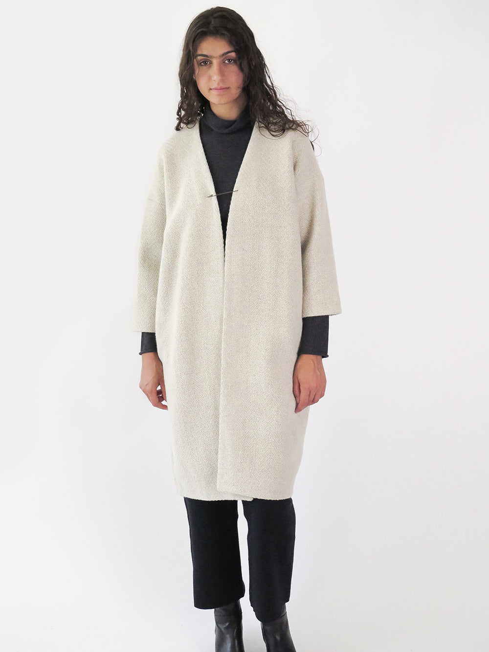 evam eva tweed robe coat in ivory