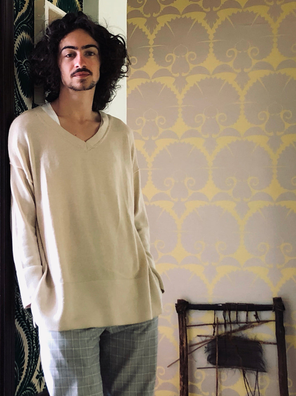 fine knit cotton v-neck pullover in natural