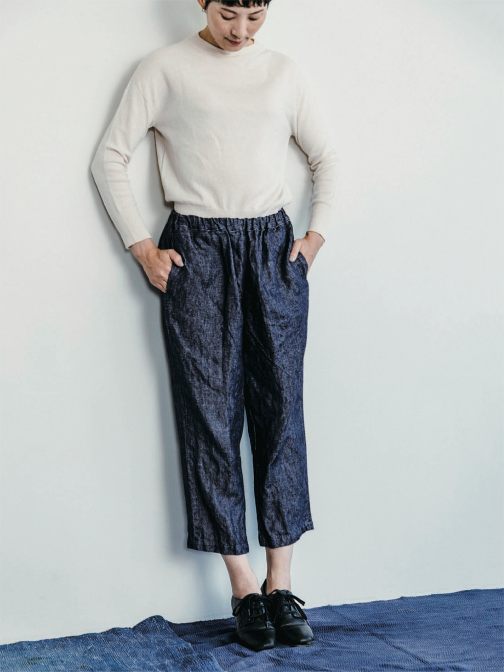 fog linen allison pant in navy denim