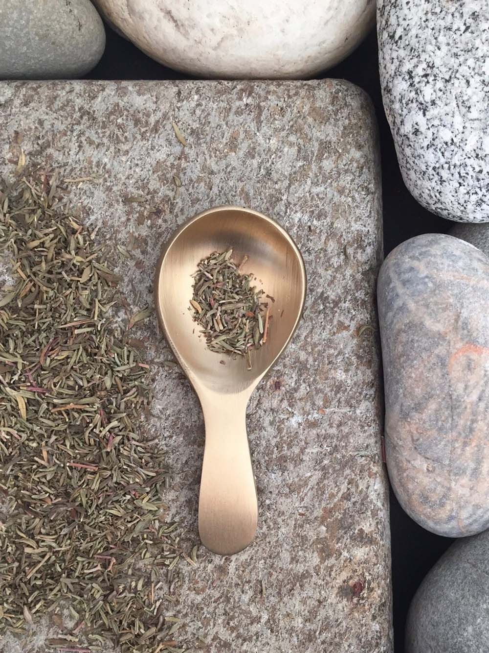 fog linen brass tea caddy spoon