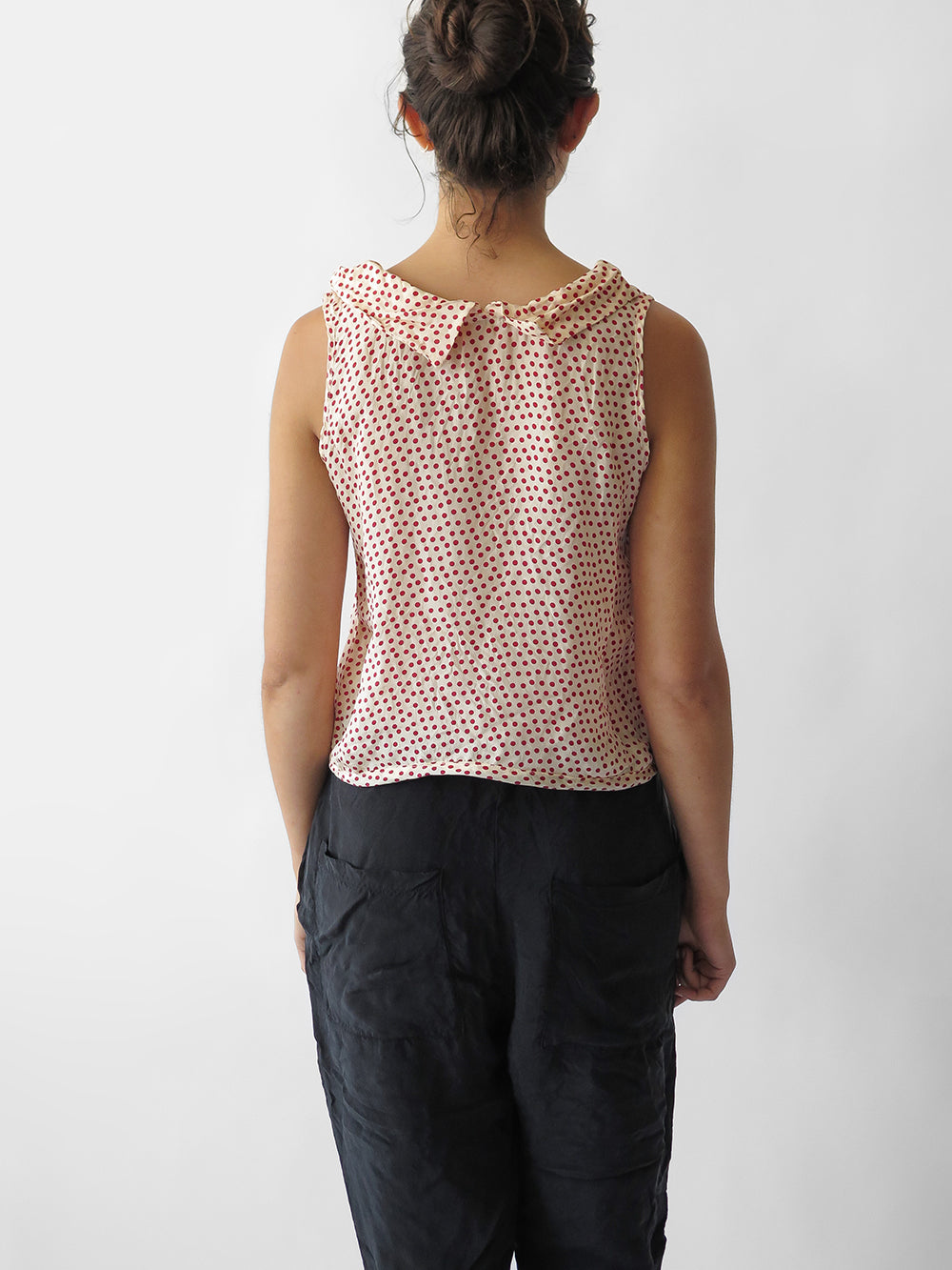 hazel brown collared blouse in all dots