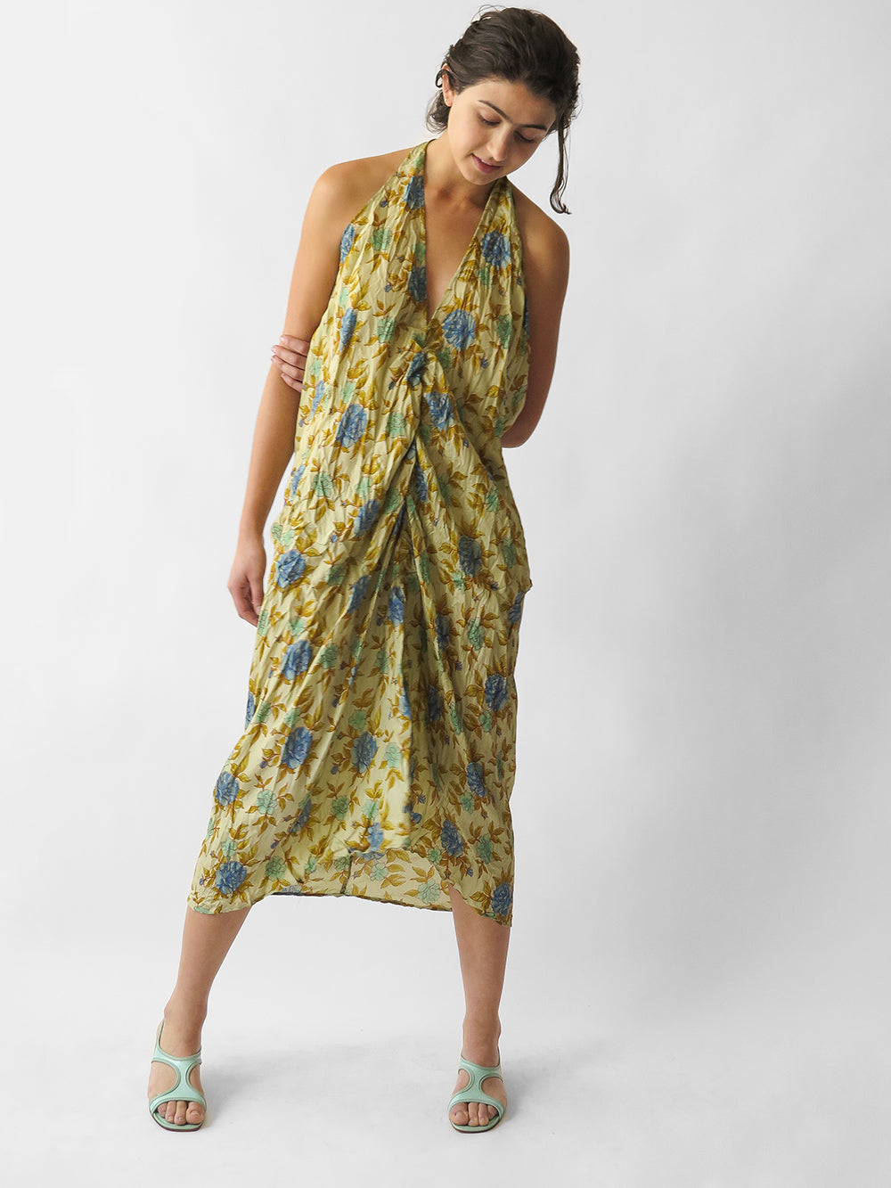 hazel brown sleeveless dress in all floral