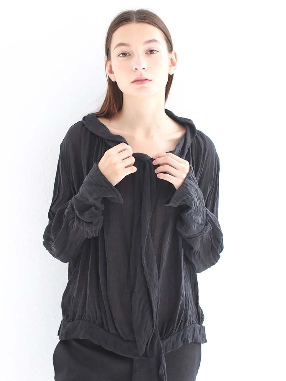 hazel brown silk blouse with bow in black