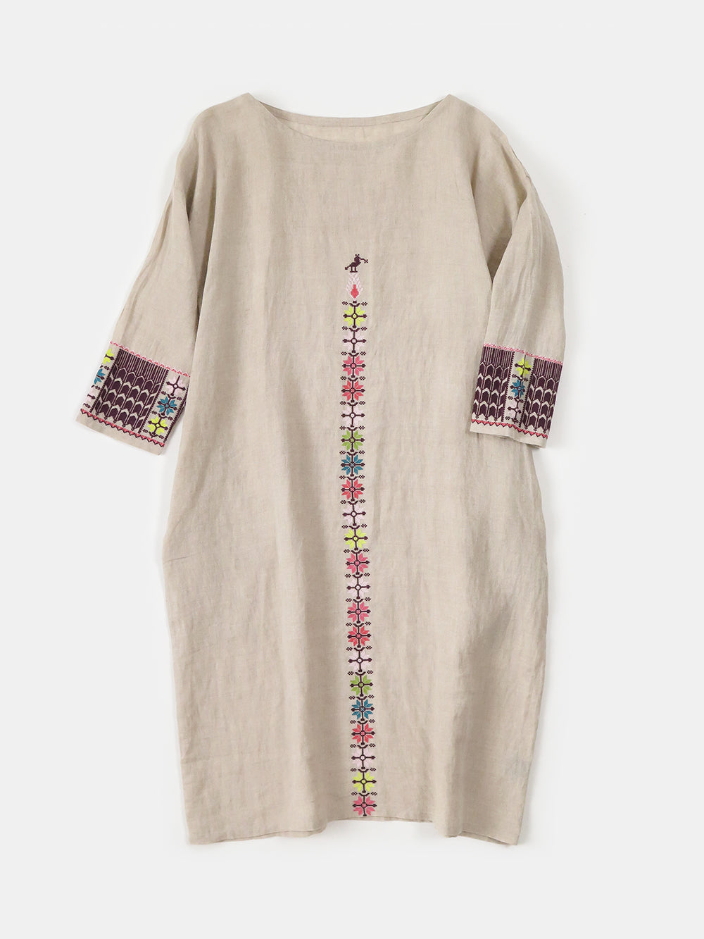 ines dress in embroidered natural linen