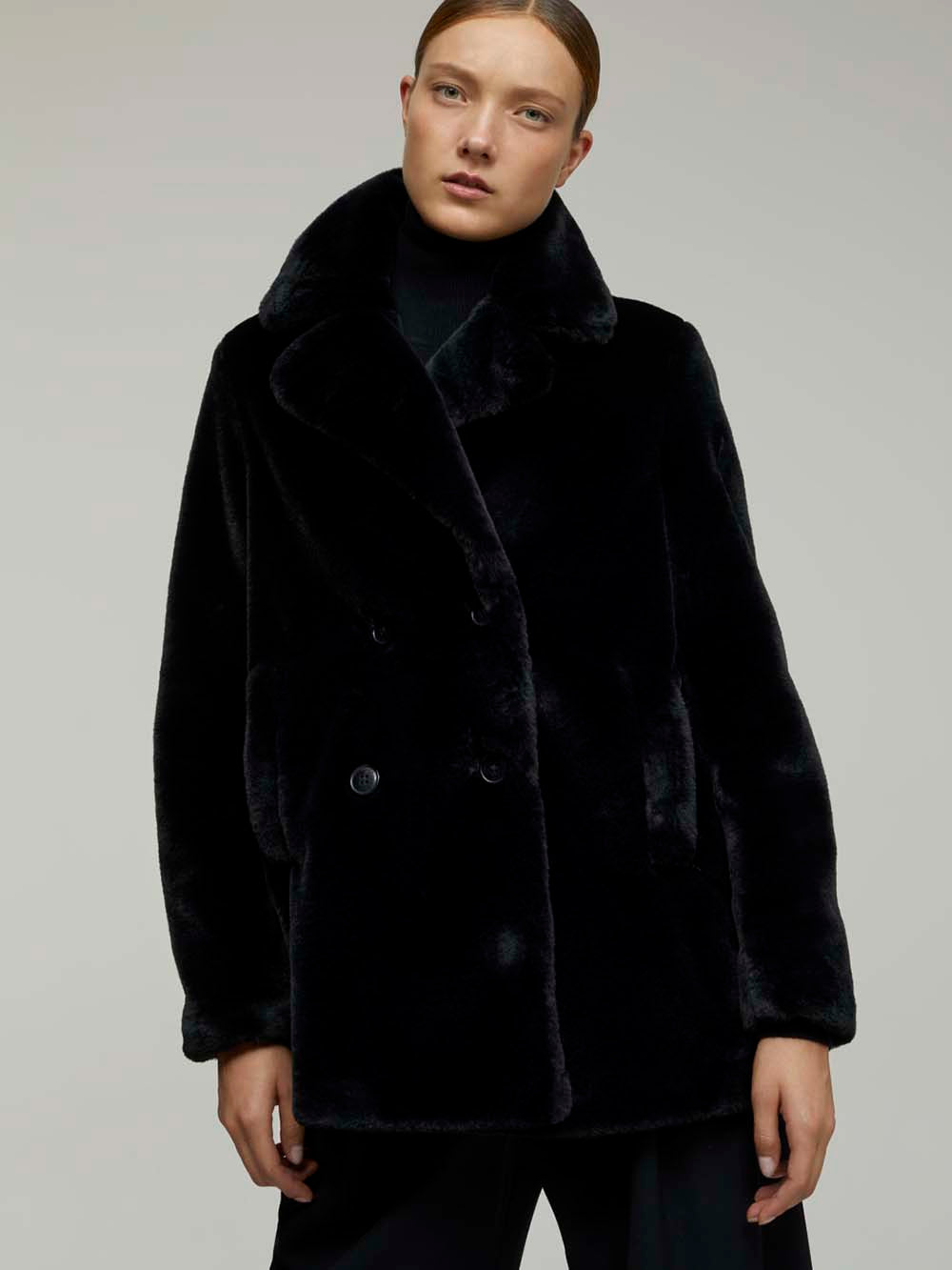 closed jessa faux fur coat in black