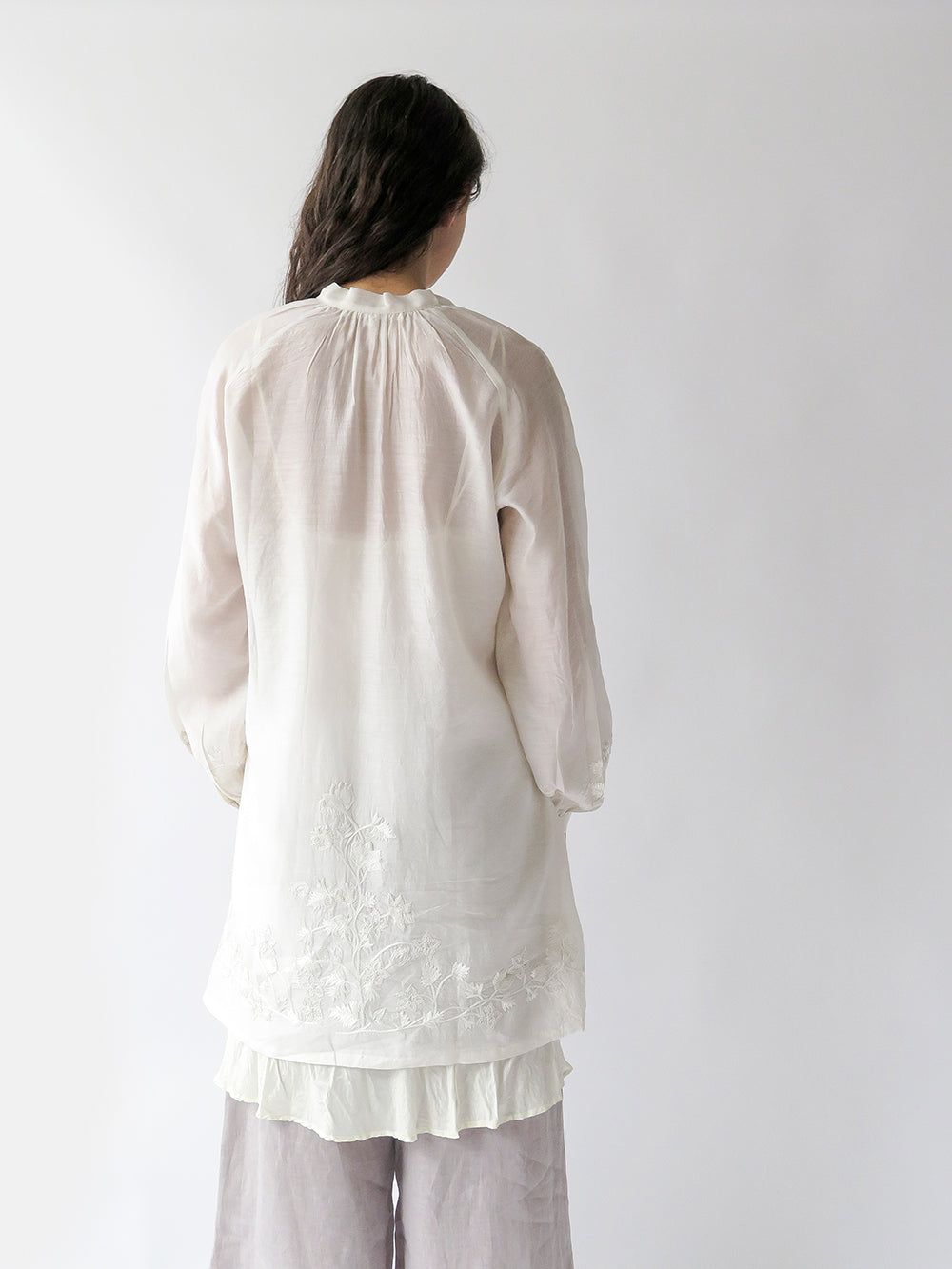 jill embroidered tunic in ivory