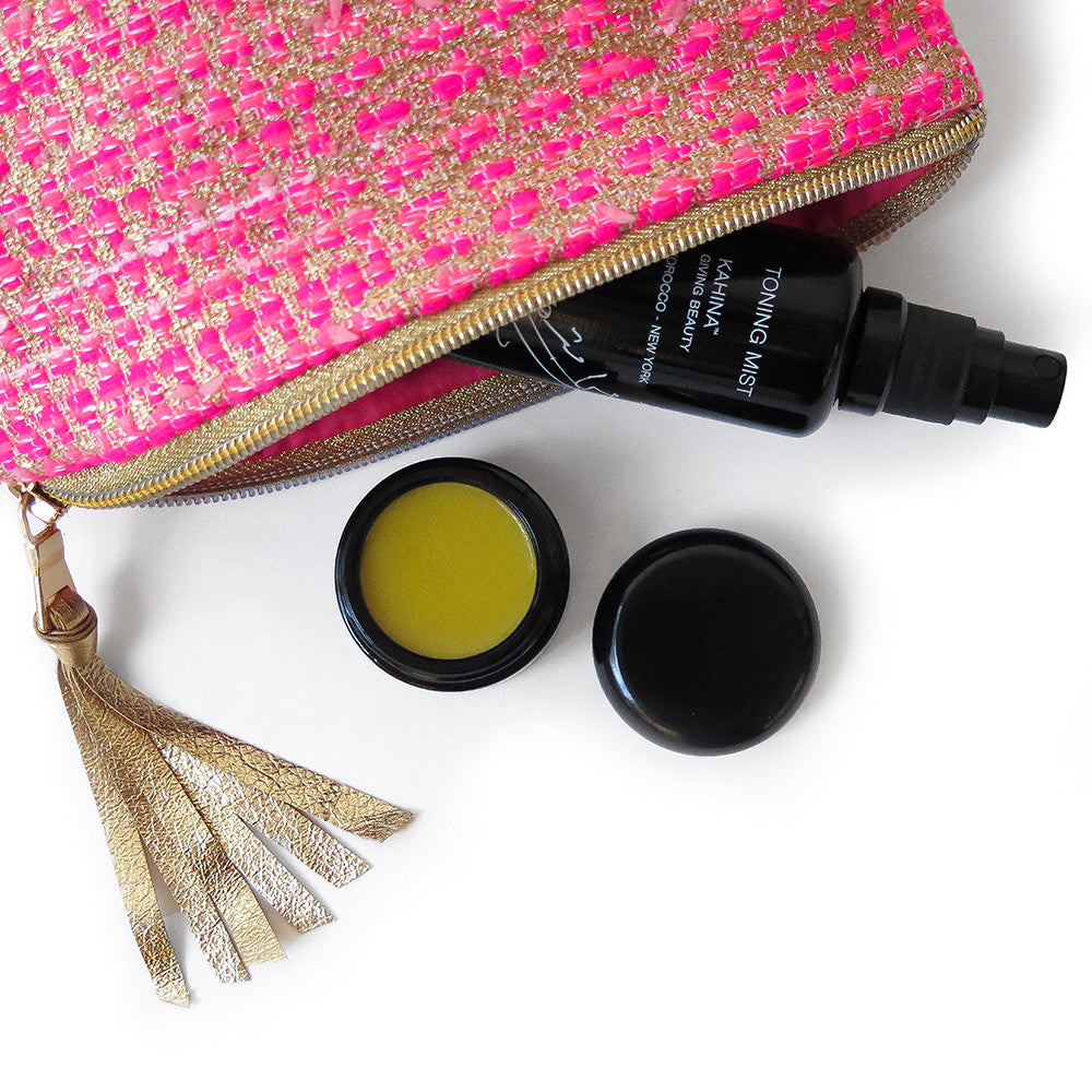 erica tanov x kahina giving beauty pink clutch set