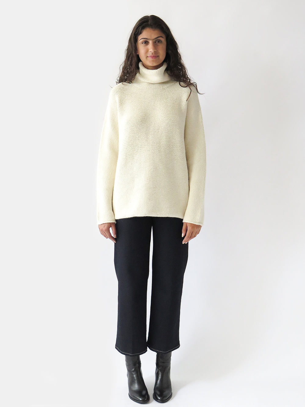 lauren manoogian horizontal turtleneck in raw white