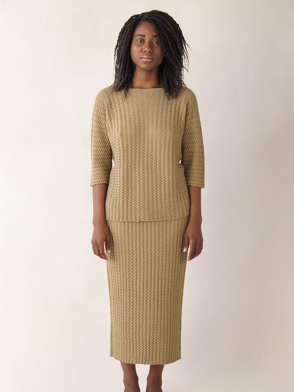 lauren manoogian origami pullover in tan