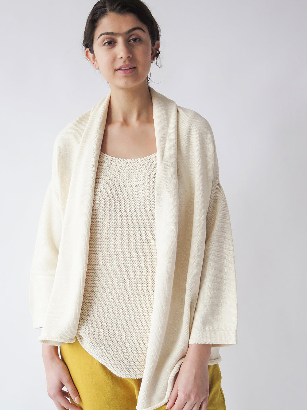lauren manoogian slouch cardigan in raw white