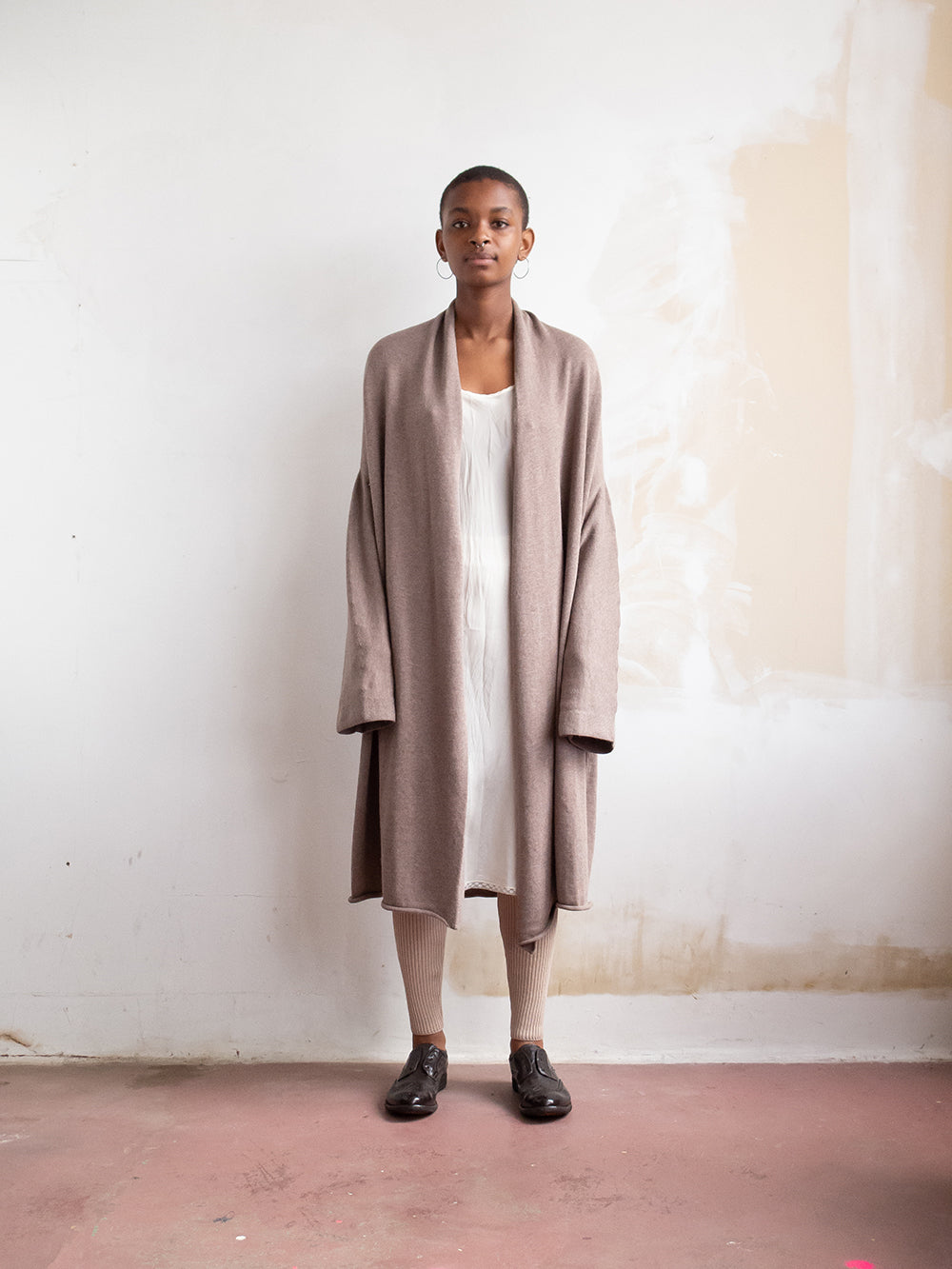 lauren manoogian long slouch cardigan in umber