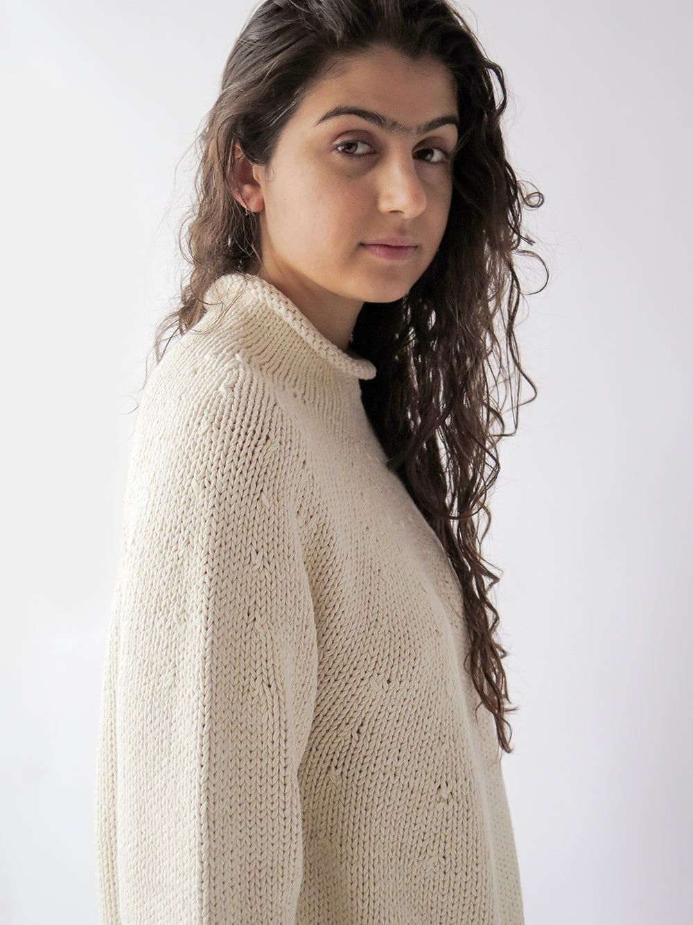 lauren manoogian yoke rollneck in raw white