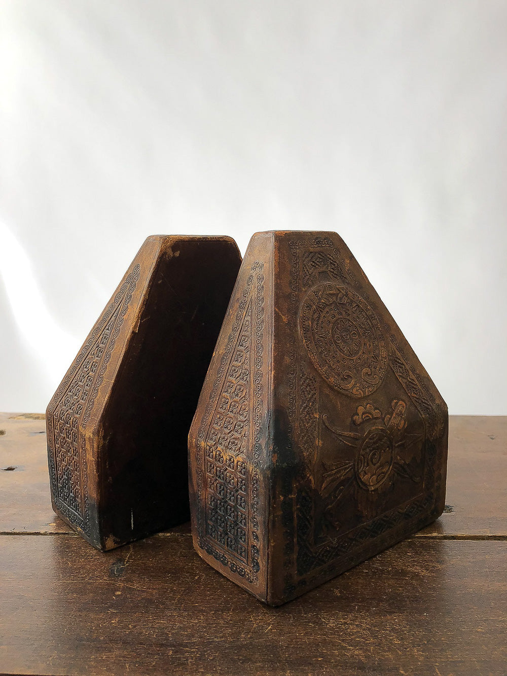 tooled leather bookends
