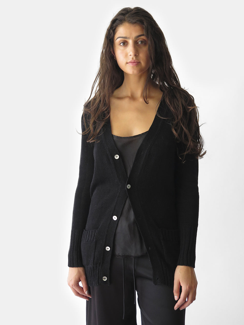 long slim-fitting belted cardigan in soft pima cotton
