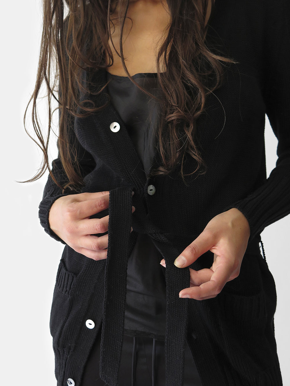 long slim-fitting belted cardigan in soft pima cotton with generous pockets & mother-of-pearl buttons. our essential & timeless layering piece is ideal for fall transition & part of the erica tanov signature collection. ethically-made in bolivia. available online, berkeley 4th street, marin country mart, & row dtla.
