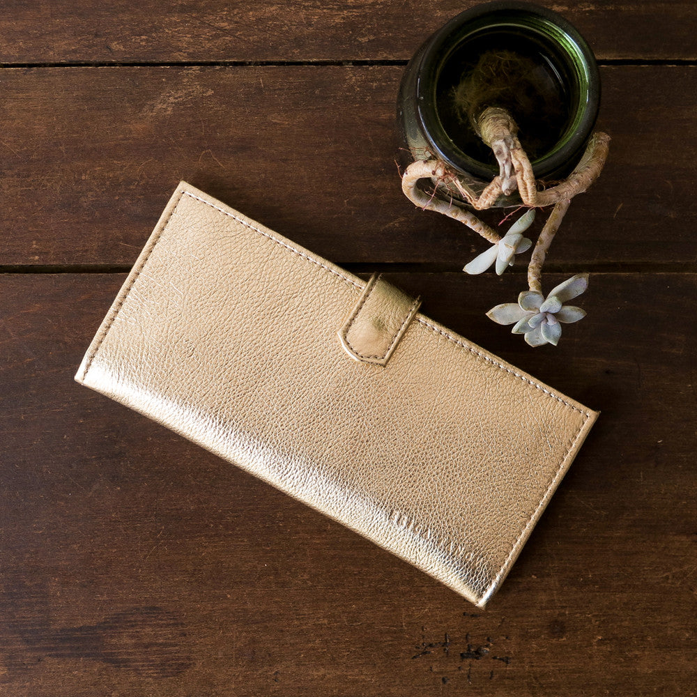 metallic leather long wallet