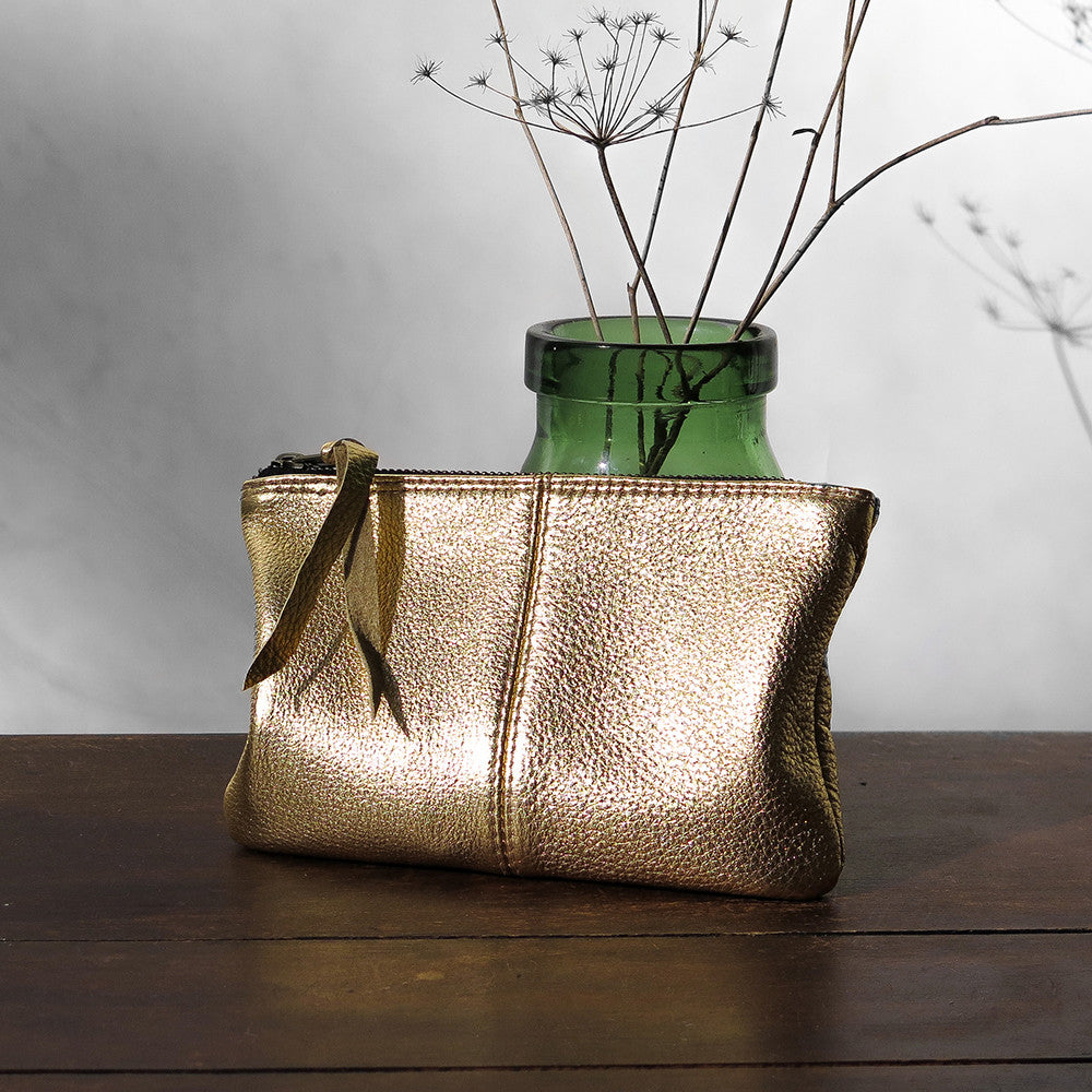 metallic leather makeup bag