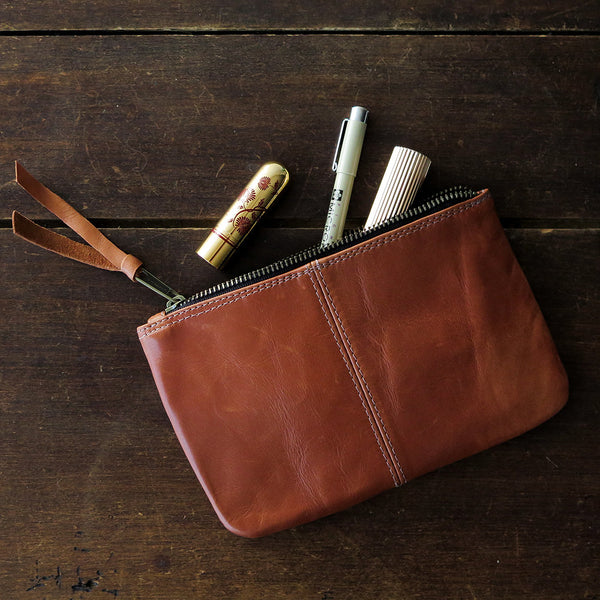 leather makeup bag