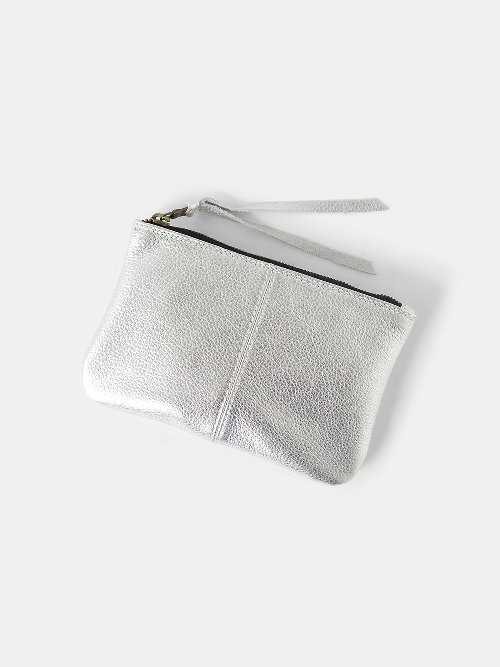 elodie metallic leather makeup bag in silver