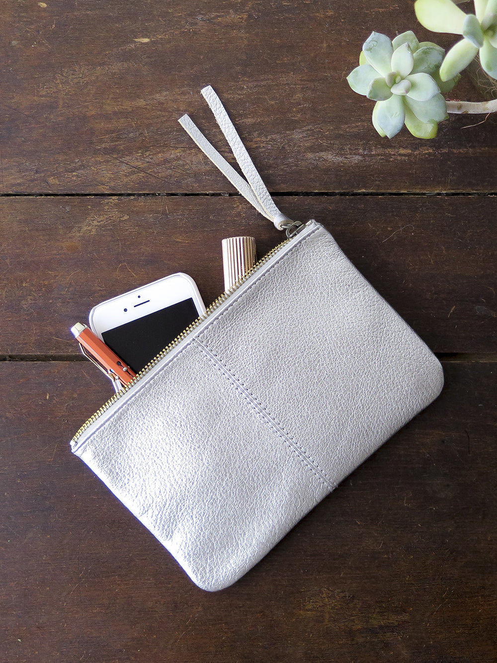 metallic leather makeup bag in silver