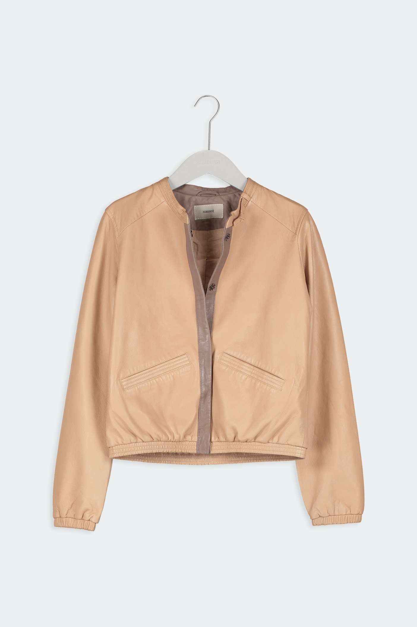 humanoid myra leather jacket in hazel