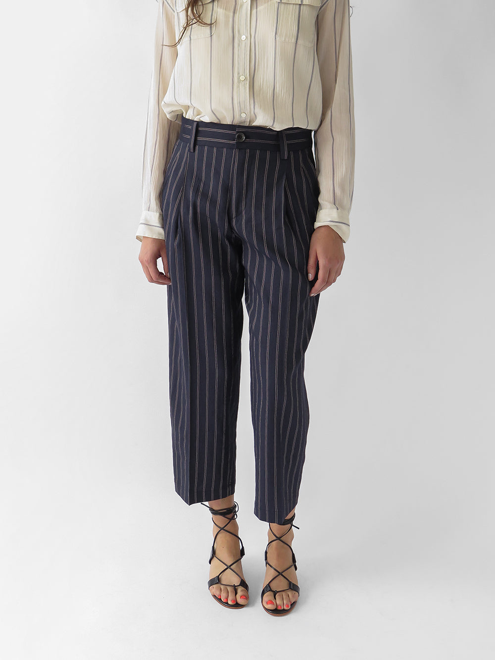 nico delhi pant in navy stripe