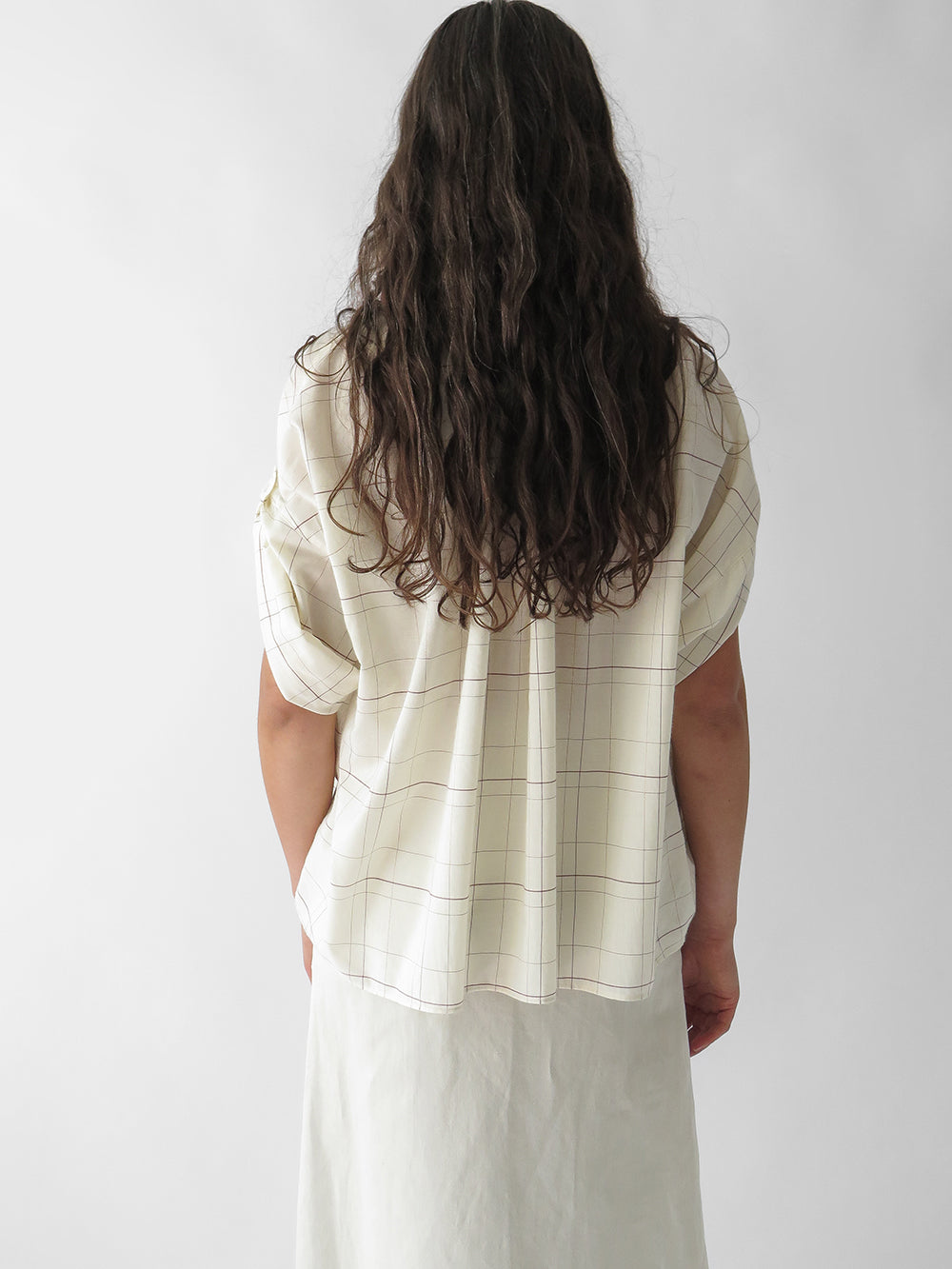 nico flora shirt in white check