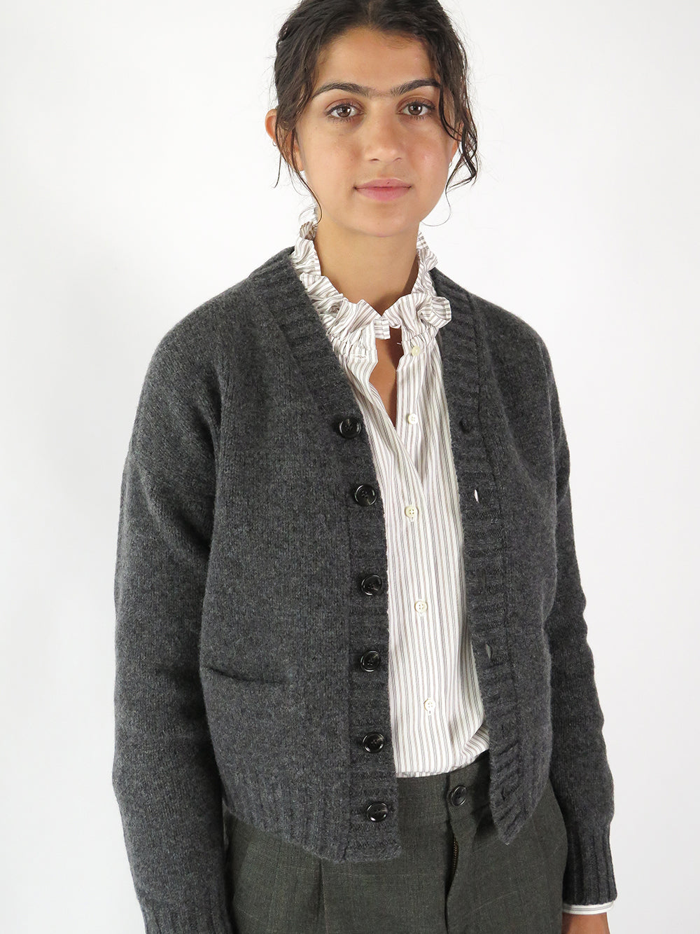 nico tony cardigan in charcoal
