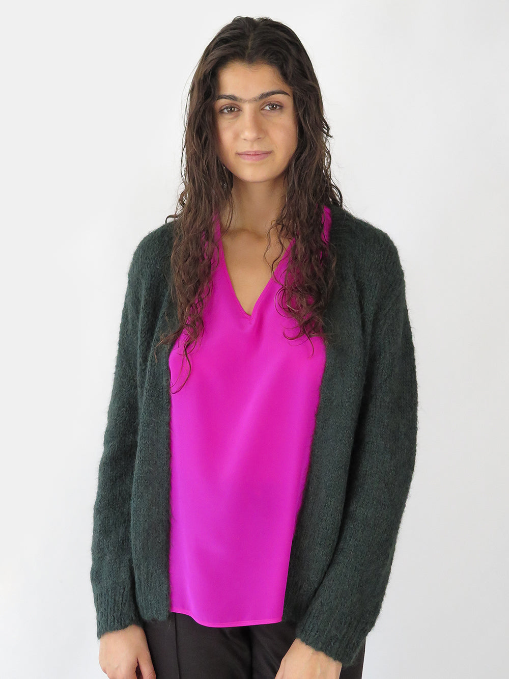 open cardigan in forest