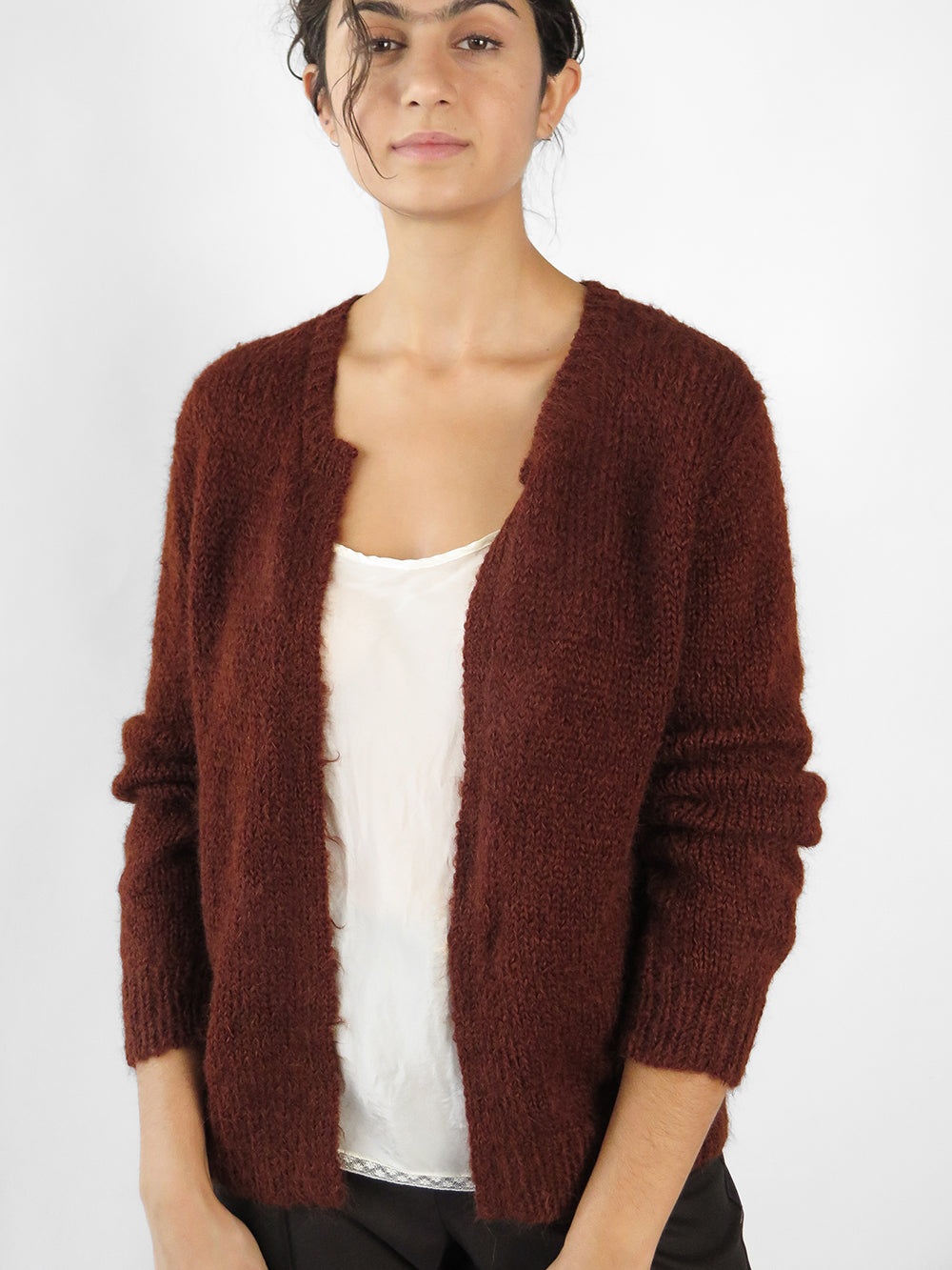 open cardigan in rust