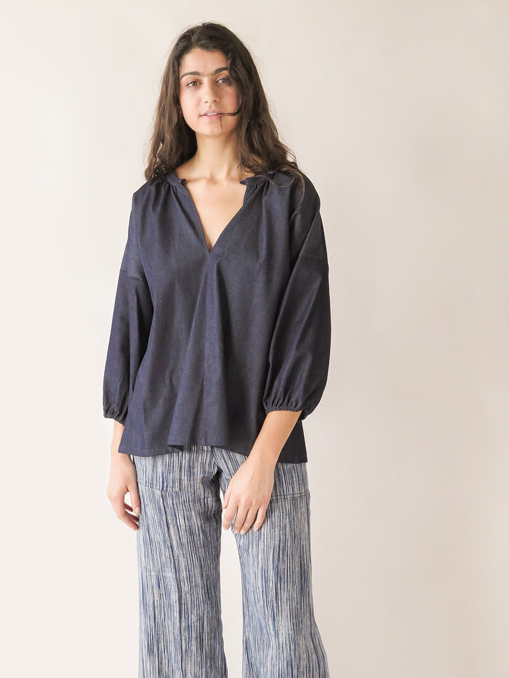 signature patricia blouse in denim