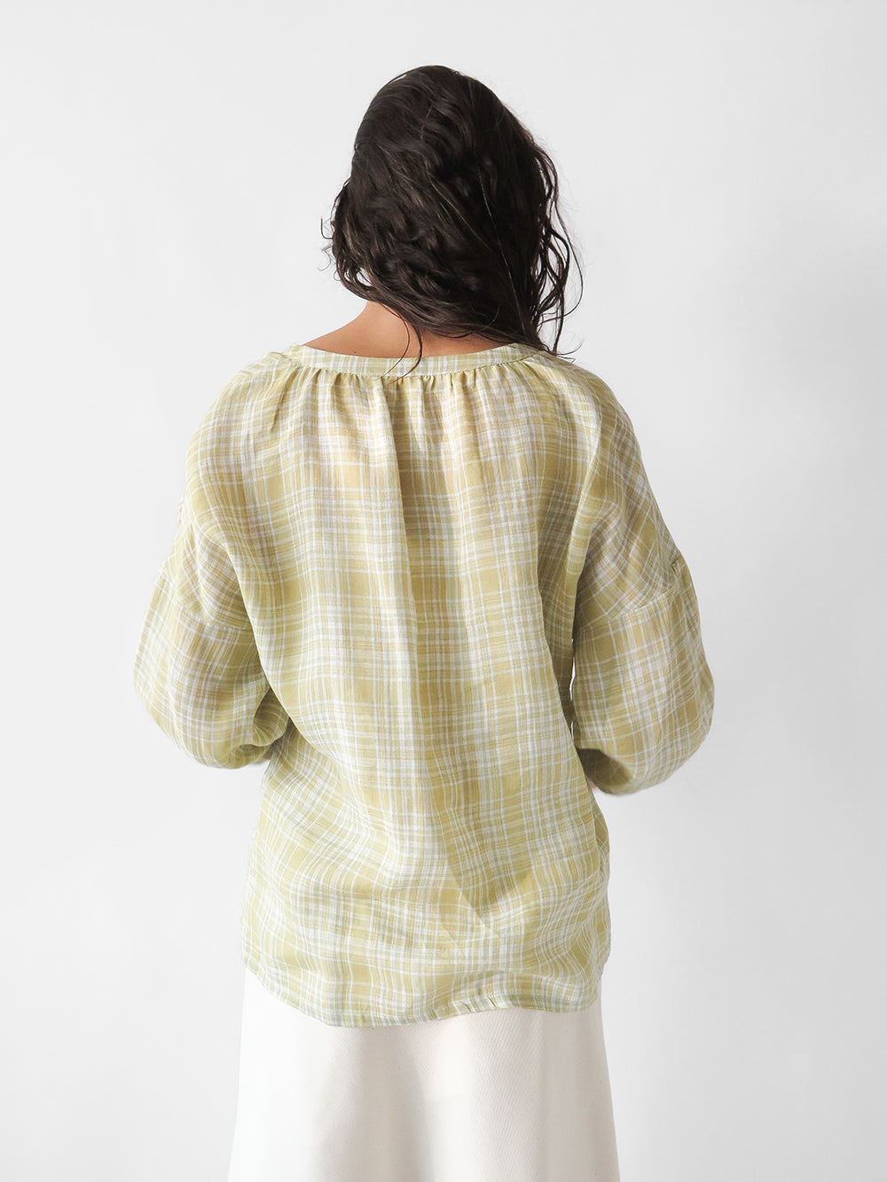 patricia blouse in citron plaid