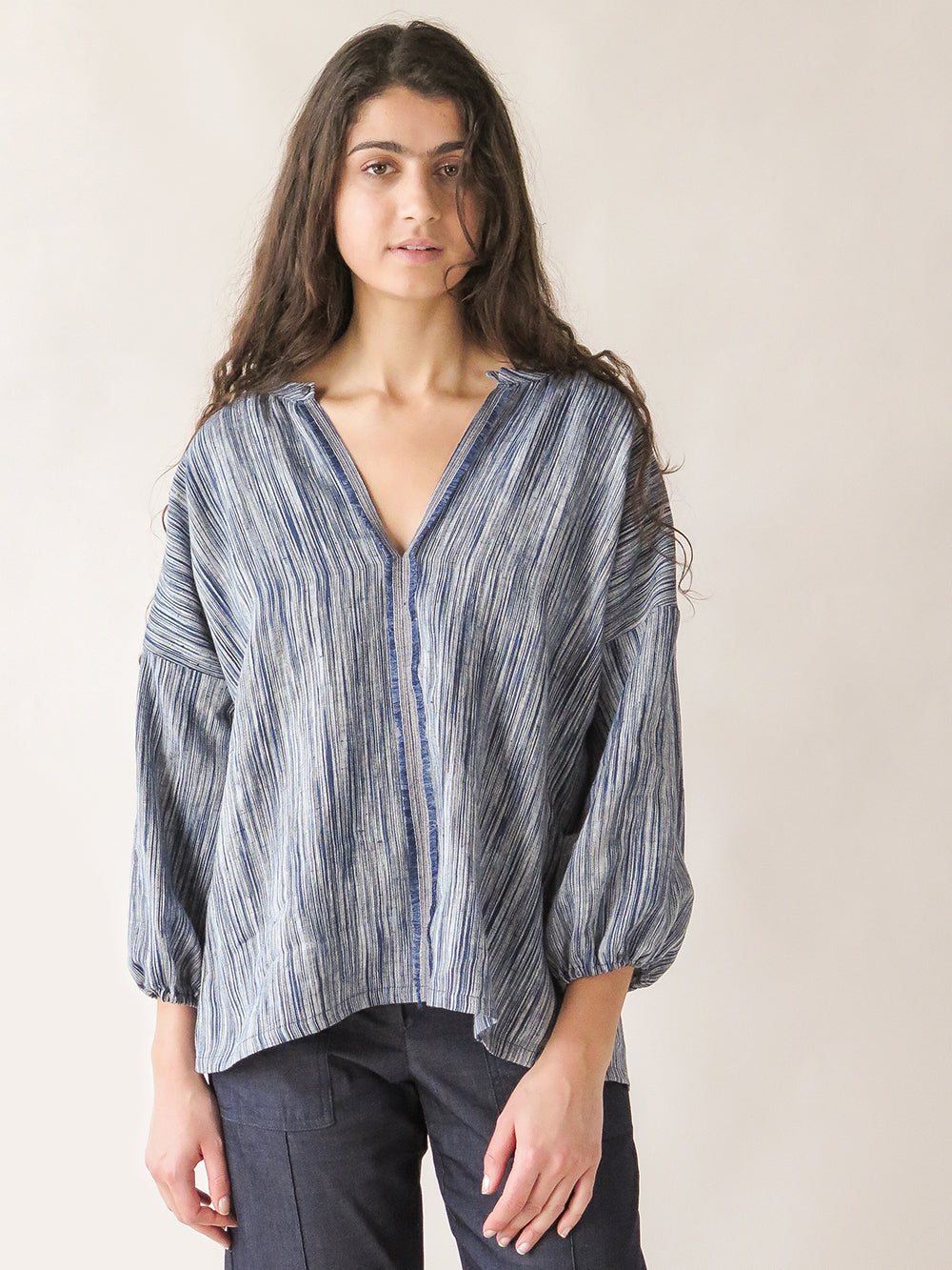 patricia blouse in indigo sketch stripe