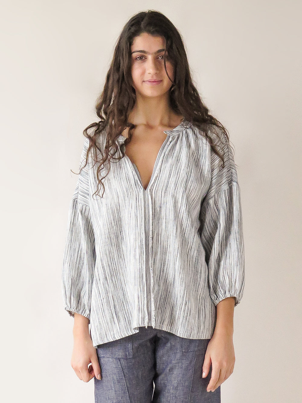 patricia blouse in pebble sketch stripe
