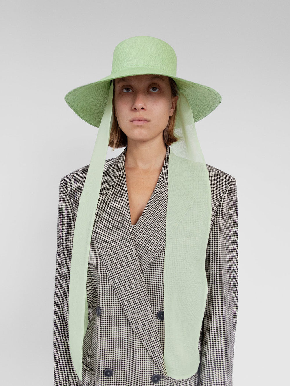 clyde pearl hat with neck scarf in khaki