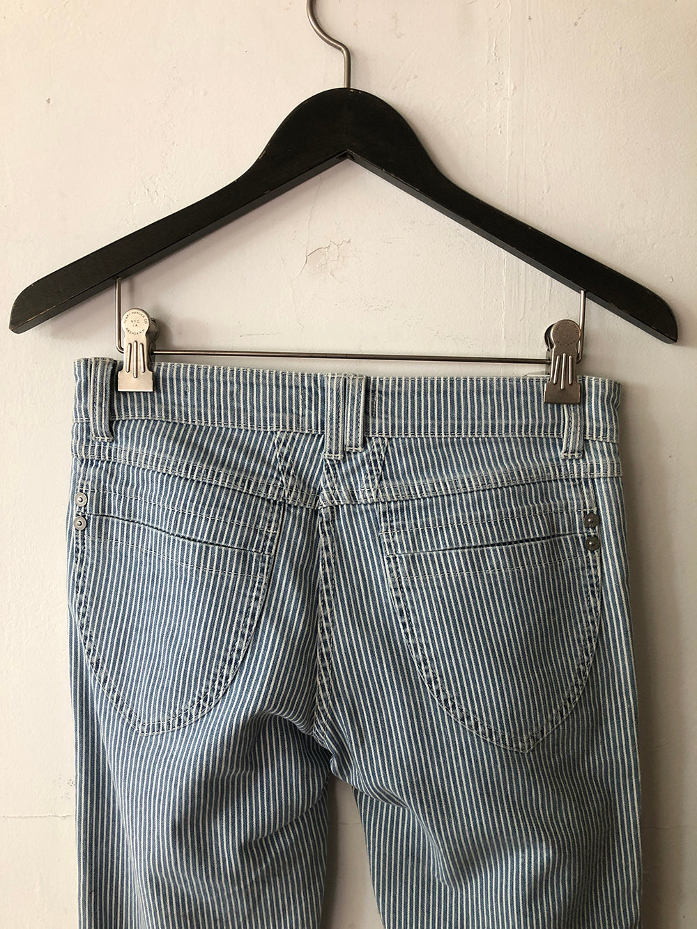 closed pedal position jean in soft used stripe