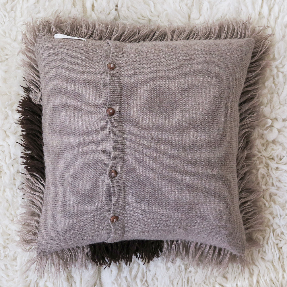 fawn tri-color alpaca shag pillow