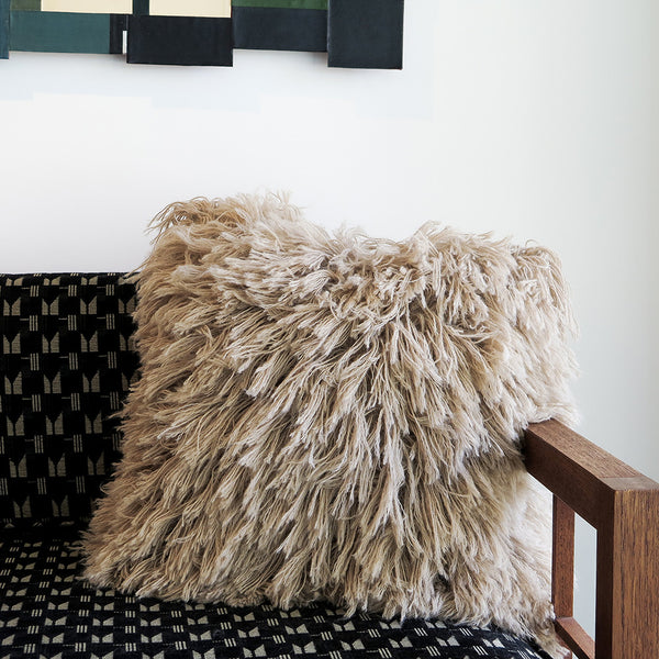 fawn alpaca shag pillow
