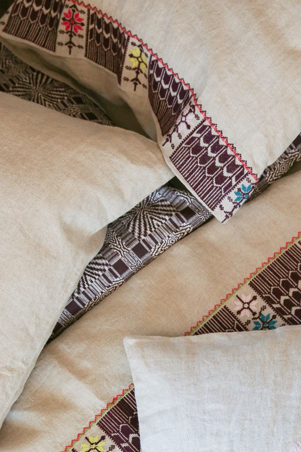 pillowcase pair in embroidered natural linen