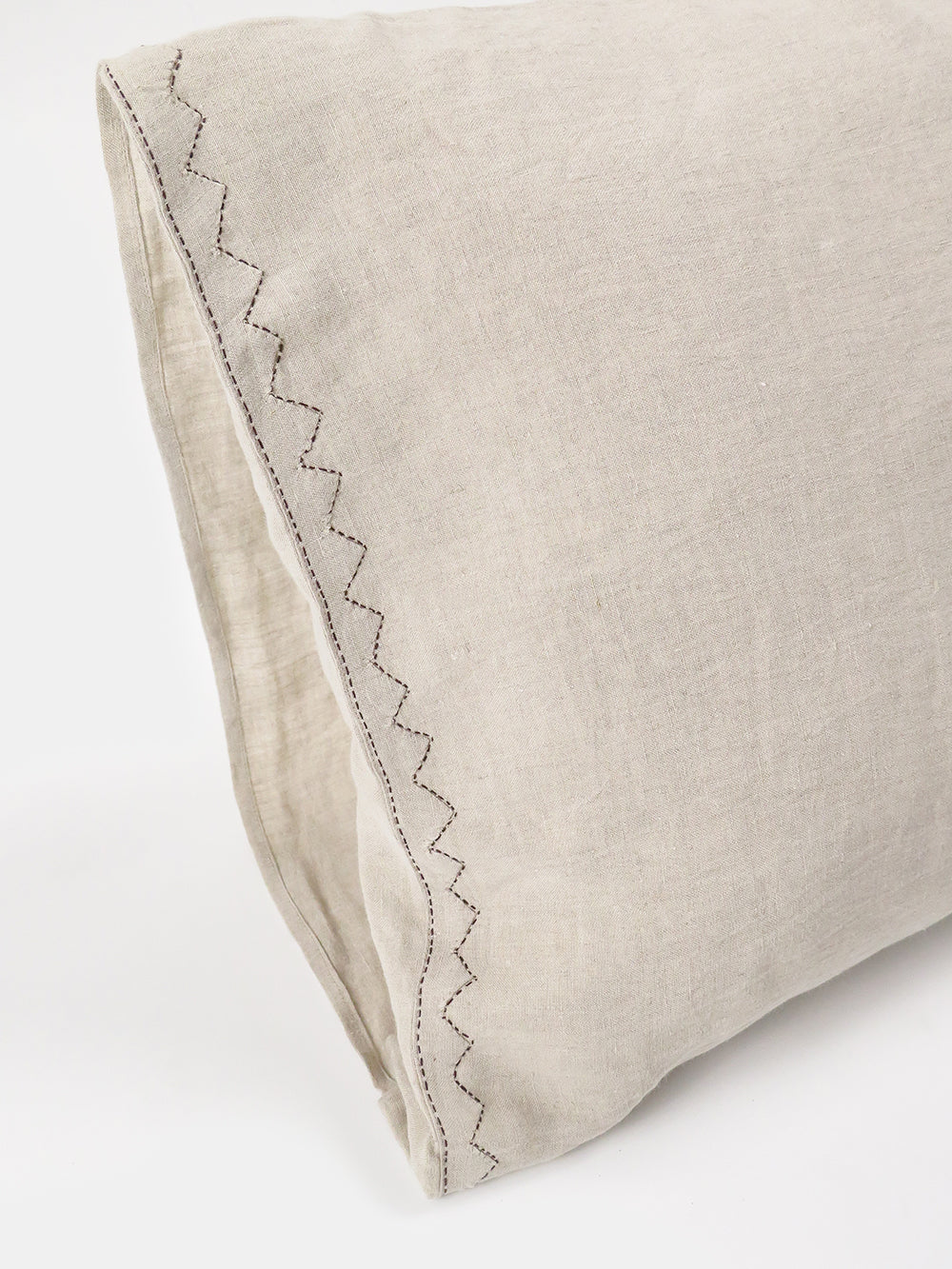 pillowcase pair in hand-embroidered natural linen