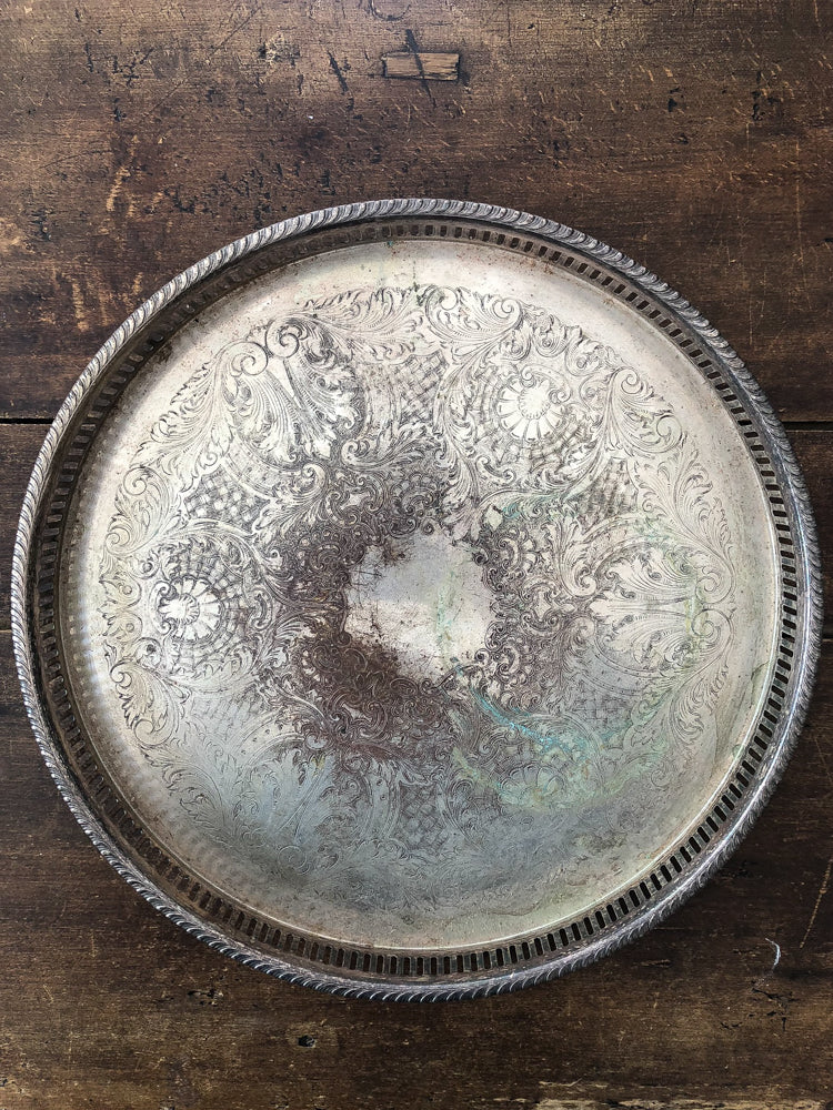 footed silver tray