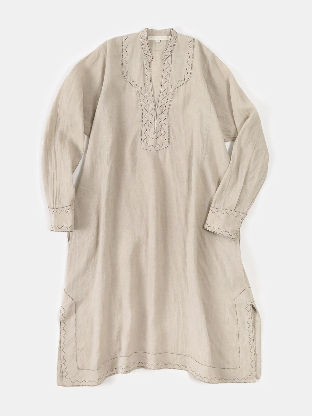 rekha caftan in hand-embroidered natural linen